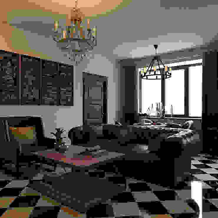 غرفة المعيشة تنفيذ Студия дизайна интерьера Маши Марченко, كلاسيكي
