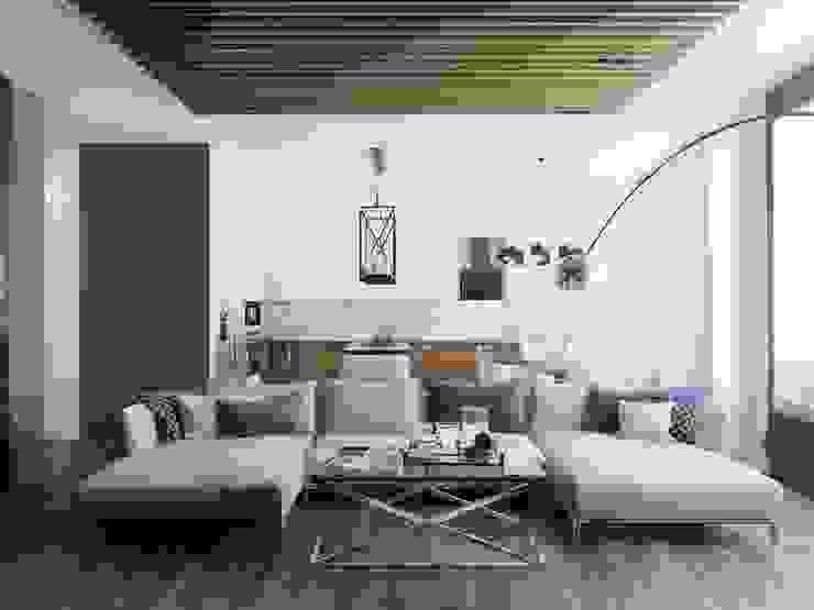 Квартира в индустриальном стиле, ЖК «Омега Хаус», 140 кв.м. Гостиная в стиле минимализм от Студия дизайна интерьера Маши Марченко Минимализм