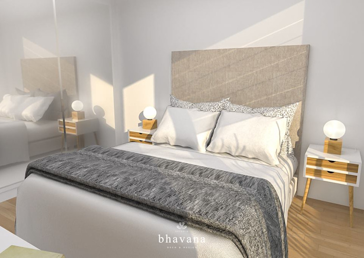 Camera da letto in stile scandinavo di Bhavana Scandinavo