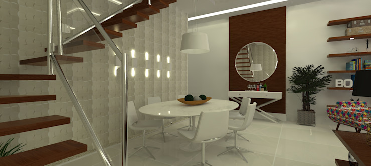 Sal de jantar Salas de jantar ecléticas por L N arquitetos Eclético Madeira Efeito de madeira