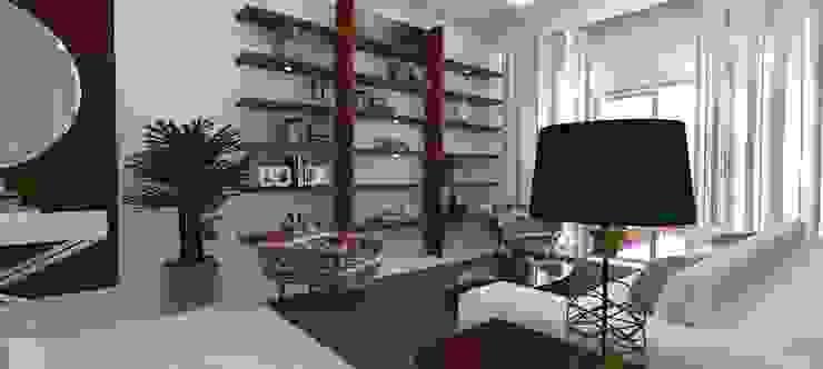 Cobertura Recreio Salas de estar ecléticas por L N arquitetos Eclético Madeira Efeito de madeira