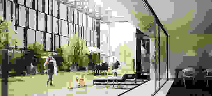 Conjunto de Viviendas en Puerto Norte Jardines modernos: Ideas, imágenes y decoración de BS ARQ Moderno Metal