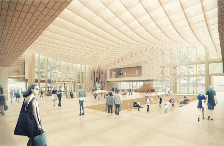 Guggenheim Helsinki Competition Casas escandinavas de BS ARQ Escandinavo Madera Acabado en madera