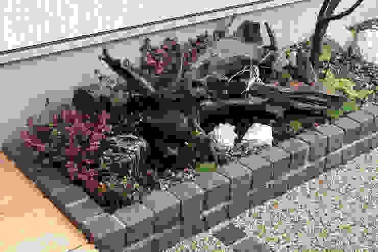 門柱から玄関までのアプローチの花壇をインパクトのある坪庭に: 匠ガーデンが手掛けた庭です。,モダン 木 木目調
