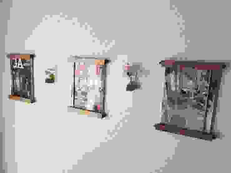 木の壁掛けマガジンラック&一輪挿し: 作房和樂(サボウワラク)が手掛けた折衷的なです。,オリジナル