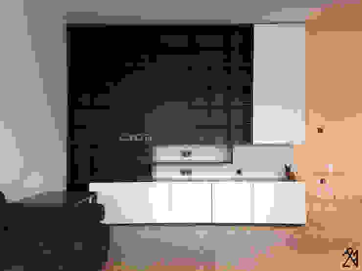 Apartment P 16 Salon minimaliste par Deux et un Minimaliste