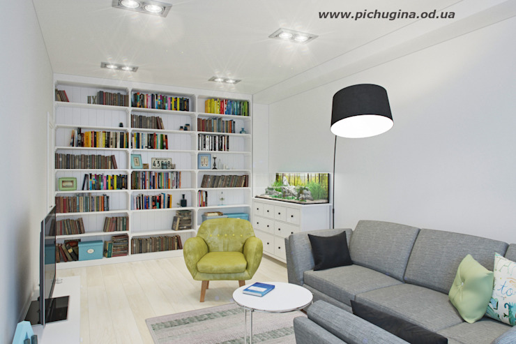 Tatyana Pichugina Design Salas de estar escandinavas Branco