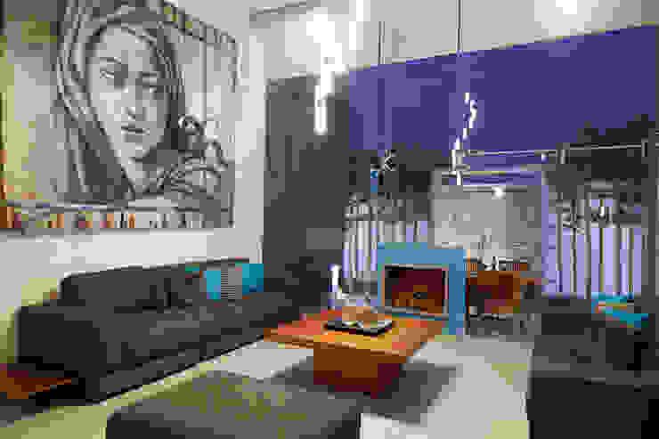 estancia Salones de estilo minimalista de arketipo-taller de arquitectura Minimalista