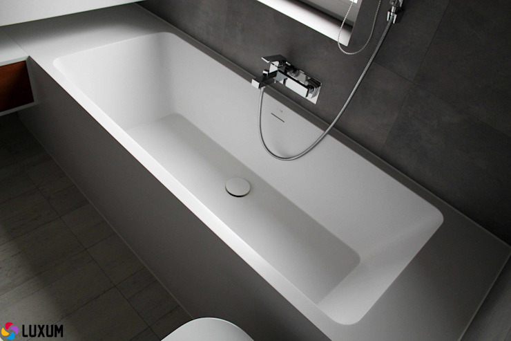 Nowoczesna łazienka w szarościach z produktami Luxum Nowoczesna łazienka od Luxum Nowoczesny