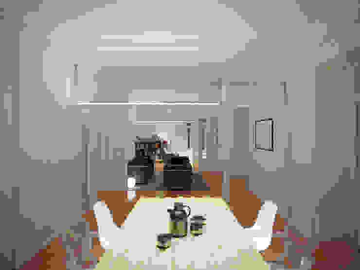Remodelação de apartamento na Estrela, em Lisboa, de Aurora Arquitectos Salas de jantar modernas por AURORA ARQUITECTOS Moderno