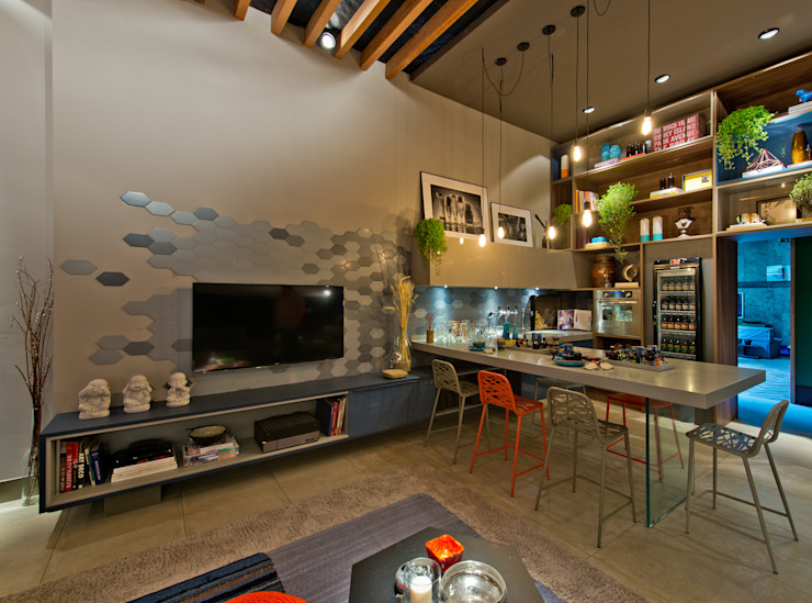 Salas / recibidores de estilo  por Sarau Arquitetura