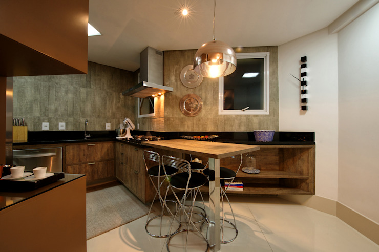 Cozinha e Espaço Lunch Cozinhas modernas por Régua Arquitetura Moderno
