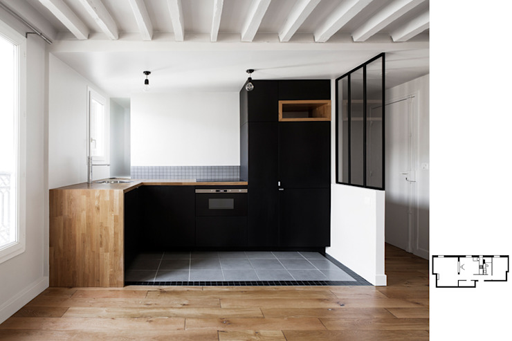 Restructuration d'un appartement à Paris 10ème GALI Sulukjian Architecte Cuisine moderne Bois Noir