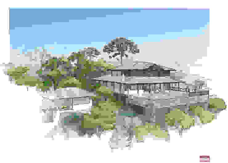 Opção 02 Casas rústicas por MADUEÑO ARQUITETURA & ENGENHARIA Rústico Madeira Efeito de madeira