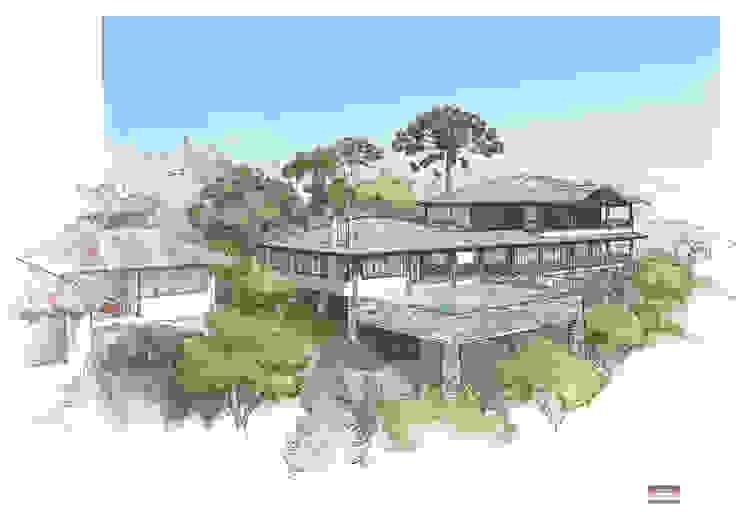 Opção 01 Casas rústicas por MADUEÑO ARQUITETURA & ENGENHARIA Rústico Madeira Efeito de madeira