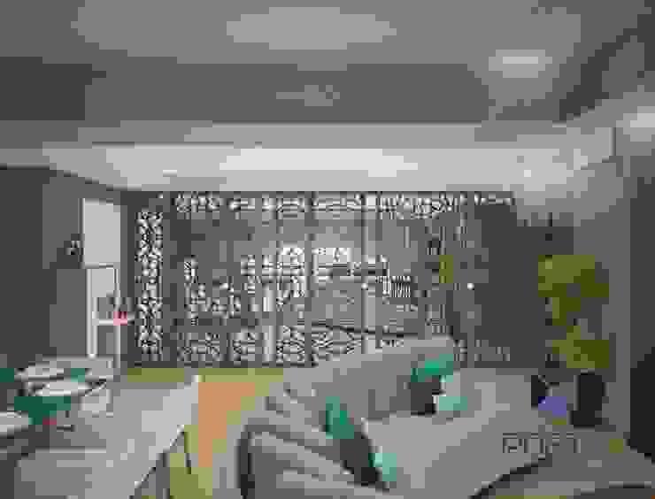 Proyecto Penthouse Bahía de Acapulco Salones eclécticos de PORTO Arquitectura + Diseño de Interiores Ecléctico