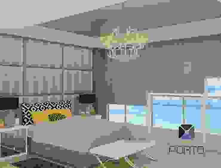 Proyecto Penthouse Bahía de Acapulco Recámaras eclécticas de PORTO Arquitectura + Diseño de Interiores Ecléctico