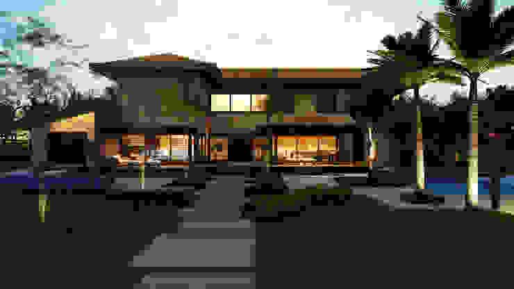Casa Haras Larissa 2 – Kythnos Vista Frontal Casas modernas por Eduardo Novaes Arquitetura e Urbanismo Ltda. Moderno