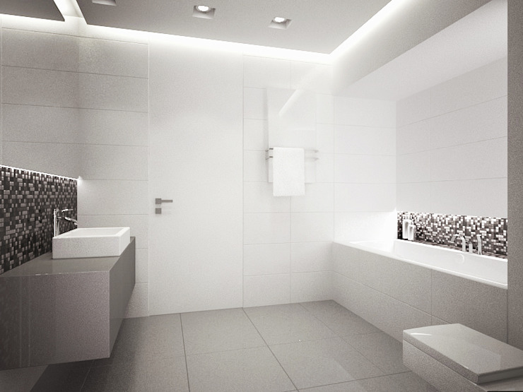 Apartament, pow. 114 m2, Elbląg-cz.3 Minimalistyczna łazienka od 3miasto design Minimalistyczny