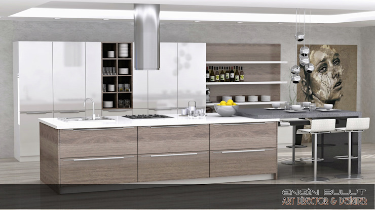 kalamer mutfak Modern Mutfak EN+SA MİMARİ TASARIM DEKORASYON MOB.İNŞ.SAN. VE TİC .LTD. ŞTİ Modern Ahşap Ahşap rengi
