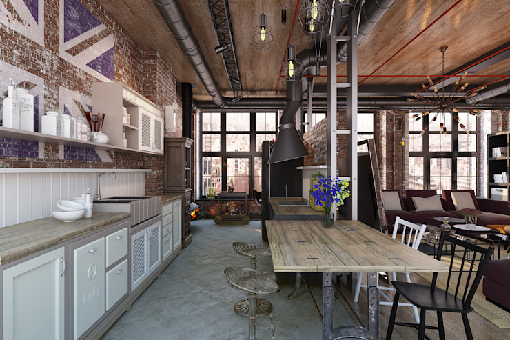 Industrial style kitchen by Александра Клямурис Industrial