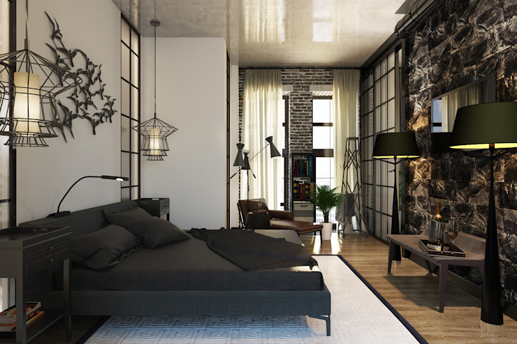 Industrial style bedroom by Александра Клямурис Industrial