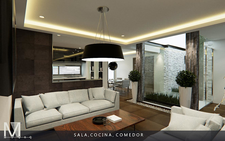 PROYECCIÓN 3D DE ESPACIO SALA COCINA Y COMEDOR. Livings de estilo moderno de homify Moderno