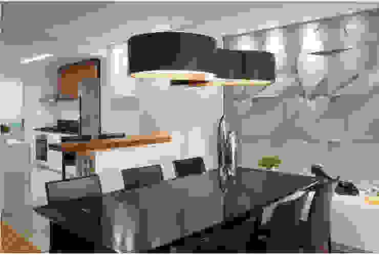 APARTAMENTO RESIDENCIAL ÁREA DE VIVER E DORMITÓRIO Salas de jantar modernas por Klaudia Vendrame Arquitetura Moderno