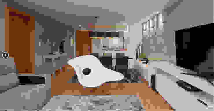 APARTAMENTO RESIDENCIAL ÁREA DE VIVER E DORMITÓRIO Salas de estar modernas por Klaudia Vendrame Arquitetura Moderno