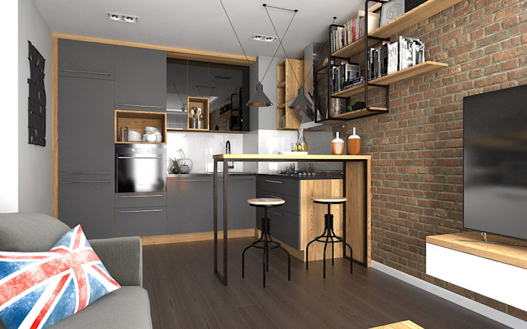 Industrial style kitchen by malee Industrial