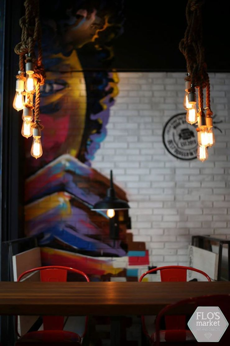 Ramillete de lámparas de soga de sisal de Flo´s Market Rústico Sisal Azul