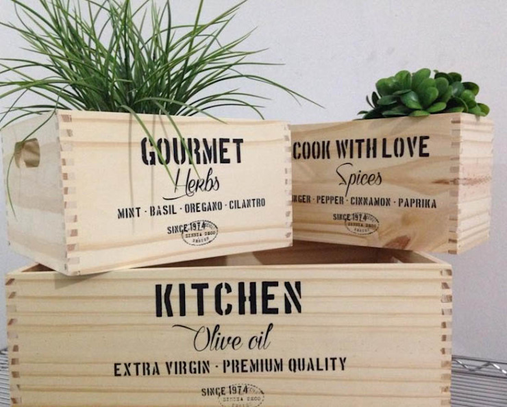 Caja de madera Kitchen natural:  de estilo industrial por Zinniadeco,Industrial Madera Acabado en madera