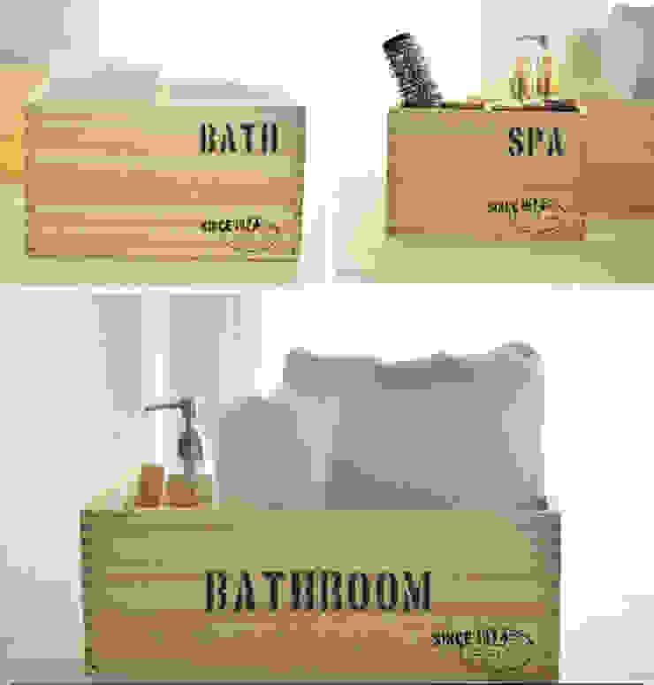 Caja de madera Bathroom natural:  de estilo industrial por Zinniadeco,Industrial Madera Acabado en madera