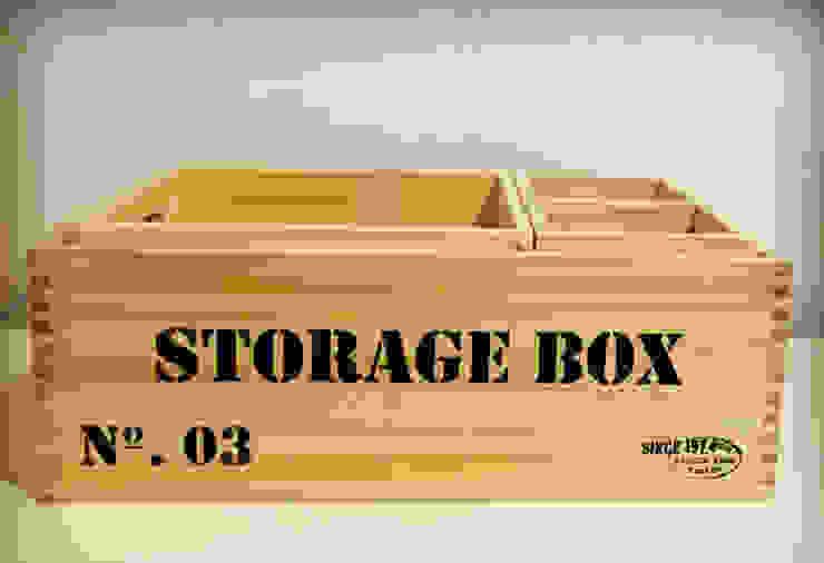 Caja de Madera Storage Natural:  de estilo industrial por Zinniadeco,Industrial Madera Acabado en madera