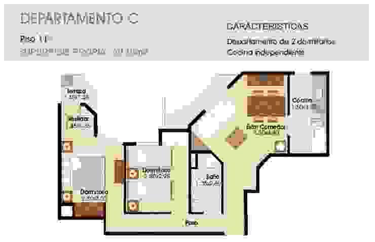 Equipamiento del espacio: COCINA/LIVING /COMEDOR de ER Design. @eugeriveraERdesign Moderno