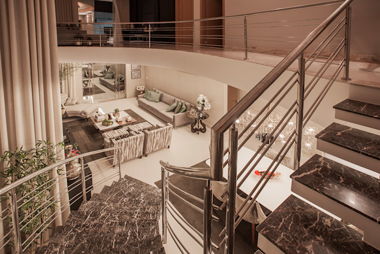 Projeto Modern corridor, hallway & stairs by Heloisa Titan Arquitetura Modern