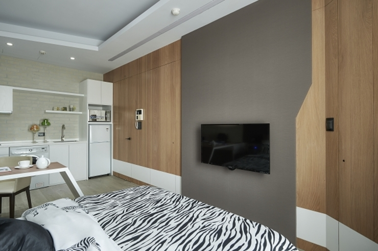 [HOME] Yunshi Interior Design 모던스타일 침실 by KD Panels 모던 우드 우드 그레인