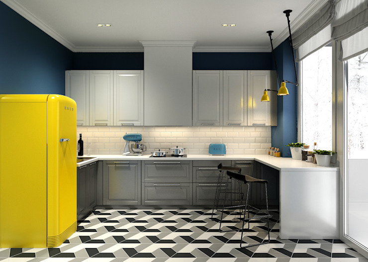 Трехкомнатная квартира для молодой семьи в современном стиле с элементами поп-арта: Кухни в . Автор – Studio 25, Скандинавский