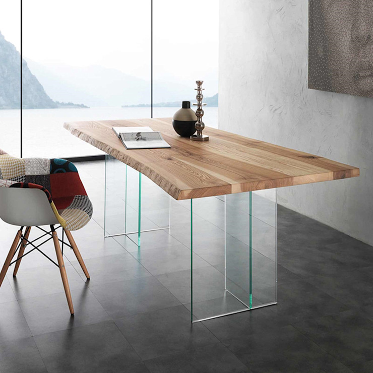 Table de salle à manger en bois massif et verre Bio Glass, design moderne Viadurini.fr Salle à mangerTables