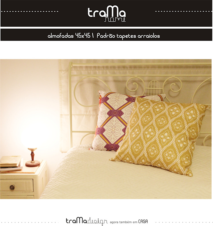 almofadas -padrão tapete de arraiolos por tramadesign Mediterrânico Linho Rosa