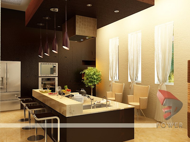 Interior project Modern dining room by 3D Power Visualization Pvt. Ltd. Modern