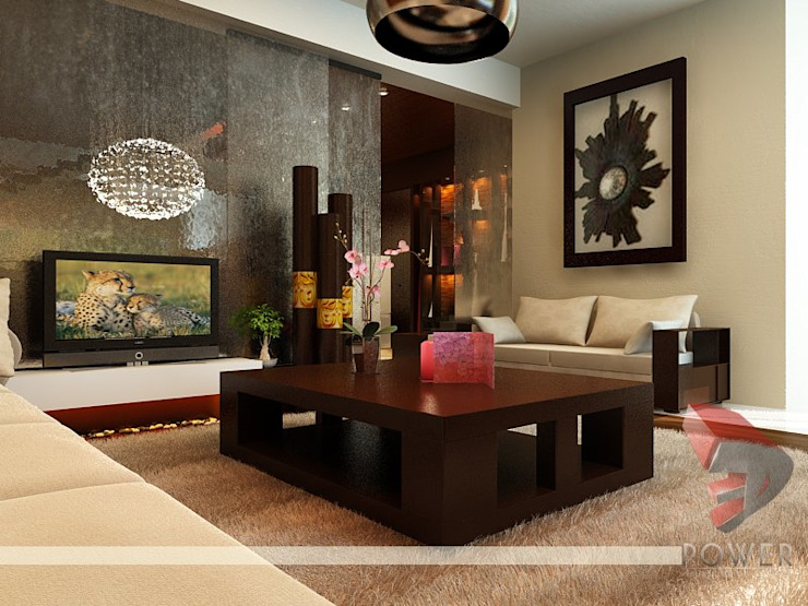 Interior project Modern living room by 3D Power Visualization Pvt. Ltd. Modern