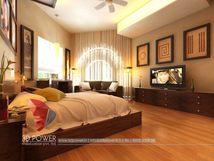 Lavish Bedroom Designs Modern style bedroom by 3D Power Visualization Pvt. Ltd. Modern