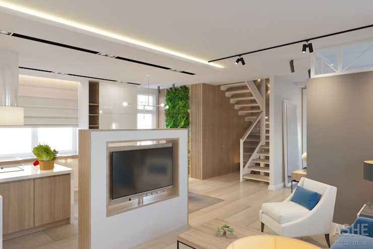 Студия авторского дизайна ASHE Home Ruang Keluarga Gaya Eklektik