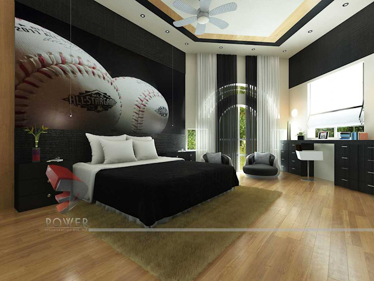 Stylish Bedroom Images Modern style bedroom by 3D Power Visualization Pvt. Ltd. Modern