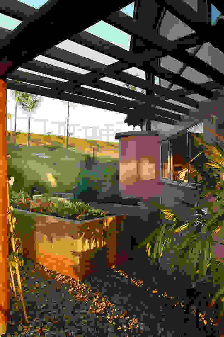 Silvia Cabrino Arquitetura e Interiores Rustic style balcony, porch & terrace