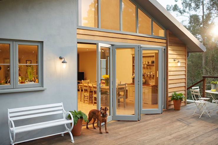 Bi-fold doors The Wood Window Alliance Modern Windows and Doors Wood Grey