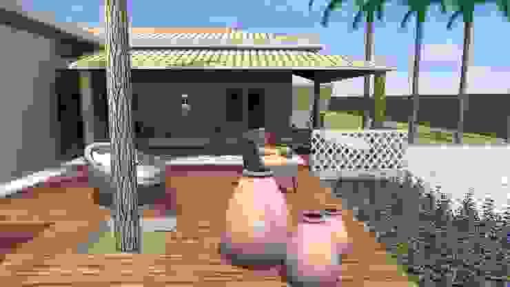 Solário em deck de madeira Jardins campestres por Arquiteto Lucas Lincoln Campestre
