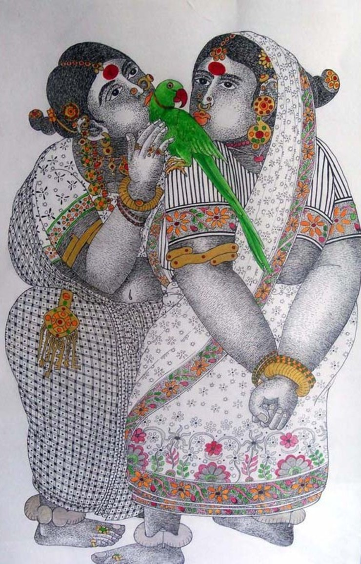 Women with Parrot 3: asian  by Indian Art Ideas,Asian