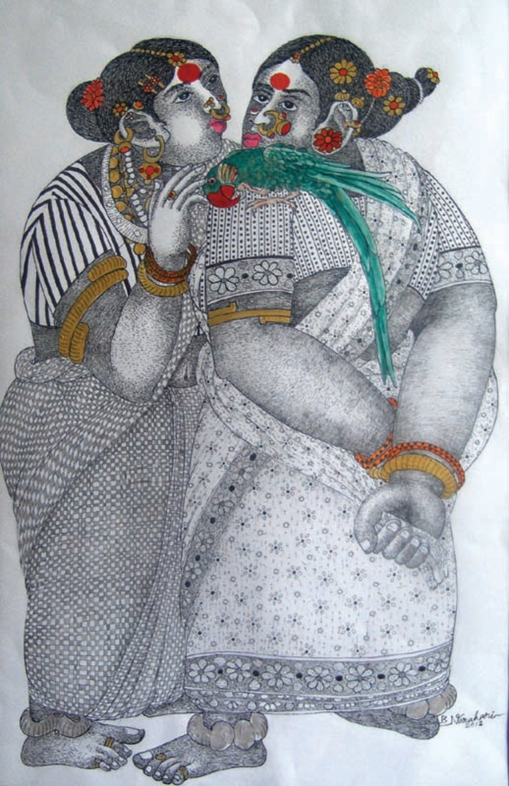 Women with Parrot 5: asian  by Indian Art Ideas,Asian